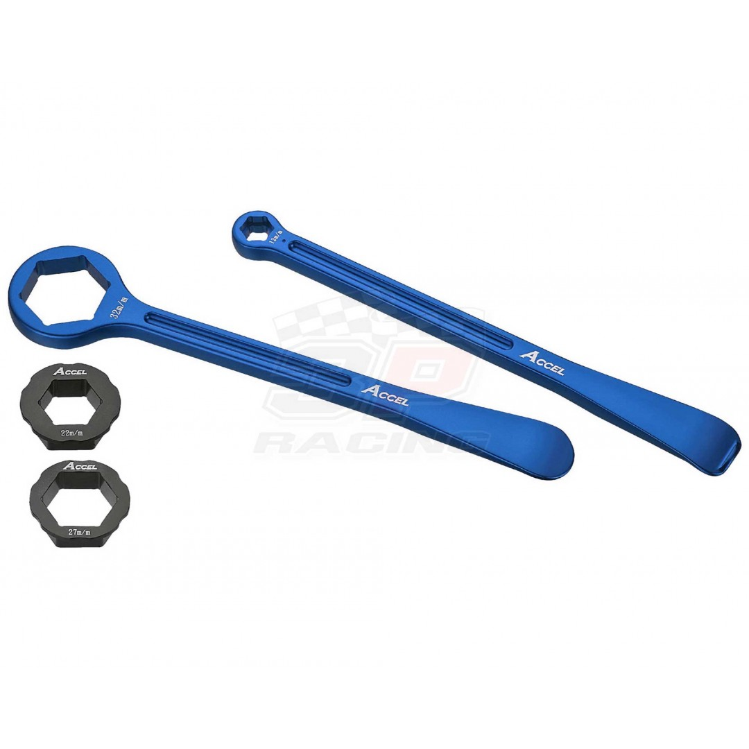 Special tools for tire - Levers & wrenches 32mm, 22mm, 13mm, 10mm and 1pcs extra 27mm hex head - Blue. P/N: AC-TL-04-BLUE