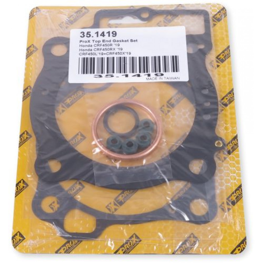ProX 35.1419 cylinder head & base gaskets kit for Honda CRF450R CRF450RX CRF450L CRF450X CRFX450 2019 2020 . P/N: 35.1419. Set includes all necessary gaskets, rubber parts and valve seals for a complete top end rebuild.