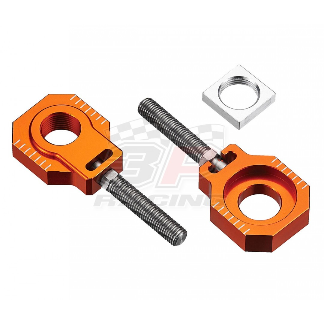 Accel CNC Dirt bike Orange chain tensioners - adjusters axle blocks Lollipop type AC-AB-29-ORANGE for KTM SX85 2003-2020, Freeride350 Freeride250 Freeride250R Freeride250F, Husqvarna TC85 2014-2020.KTM OEM 47010085044 70010085044 70010084000. P/N: AC-AB-2