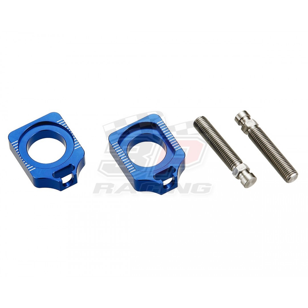 Accel CNC Dirt bike Blue chain tensioners - adjusters axle blocks for Yamaha YZF 250 YZ250F YZ 250F YZF250 2012-2020, YZF 450 YZ450F YZ 450F YZF450 2010-2020. Yamaha OEM 1SL-25388-00-00 B11-25388-00-00 33D-25389-00-00 17D-25388-00-00. P/N: AC-AB-24-BLUE.