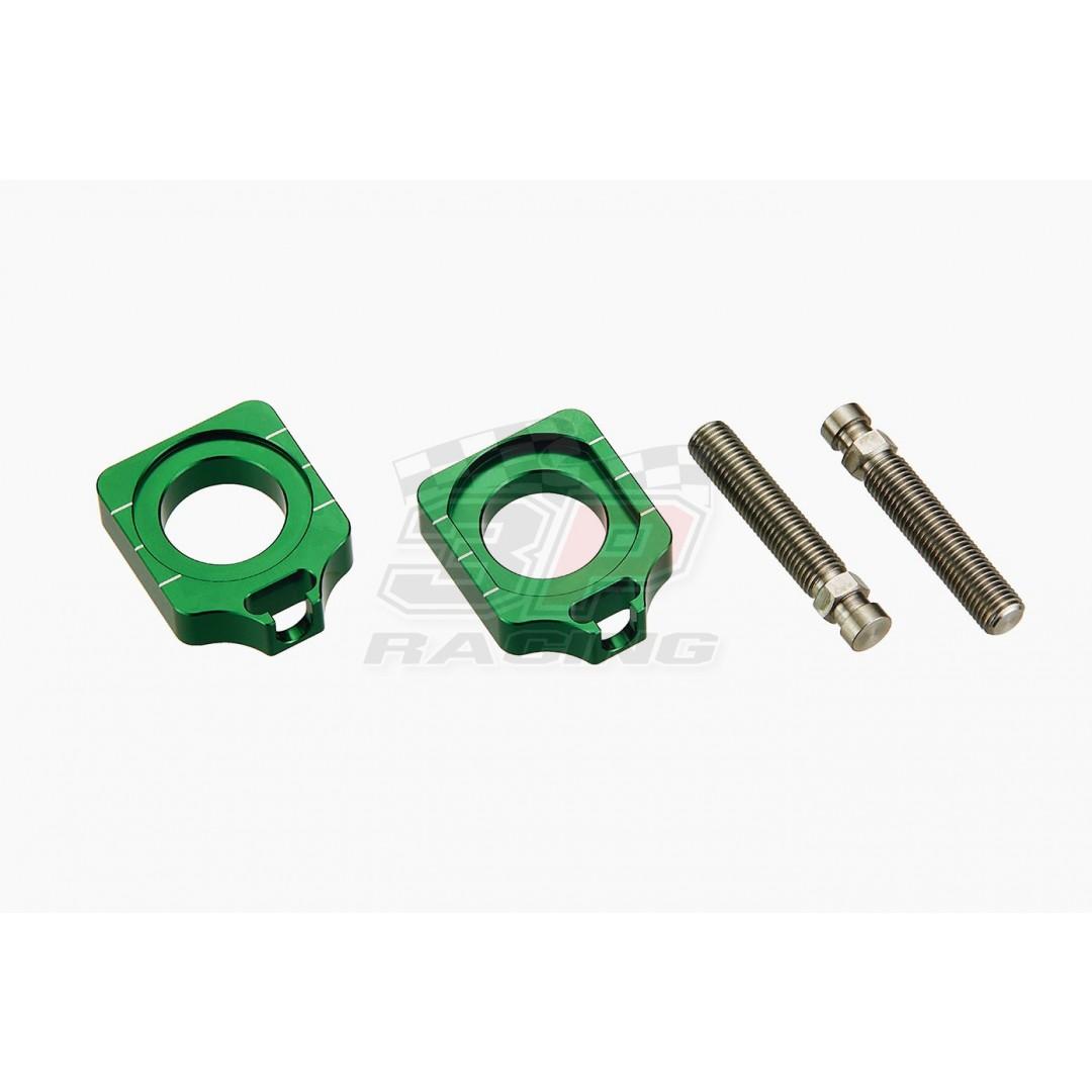Accel CNC Dirt bike Green chain tensioners - adjusters axle blocks Lollipop type Green AC-AB-25-GREEN for Kawasaki KX125 KX250 KX250F KXF250 KX450F KXF450 KLX450R KLX450, Suzuki RM-Z 250 RMZ250 RM-Z250, RM-Z 450 RMZ450 RM-Z450 2004-2019, RMX450Z RMX450Z 2