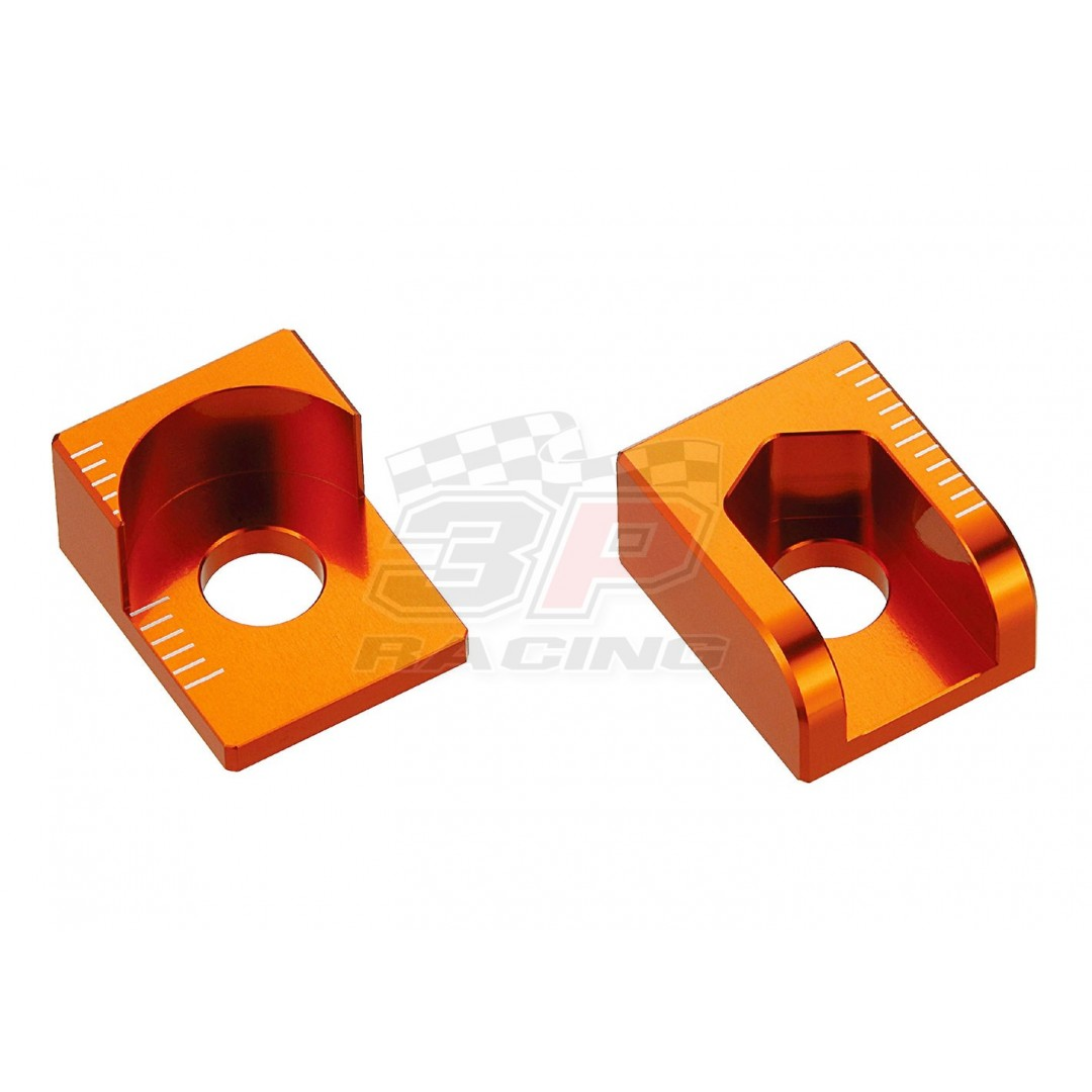 Accel CNC Dirt bike Orange chain tensioners - adjusters axle blocks for KTM SX 65 SX65 2000-2015. KTM OEM 46010083000. P/N: AC-AB-26-ORANGE. Made from aluminium AL6061-T6. CNC machined & anodized. *Set of 2*