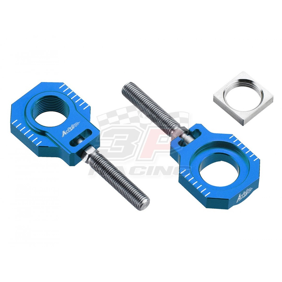 Accel CNC Dirt bike Green chain tensioners - adjusters, axle blocks Lollipop type AC-AB-27-NL-BL. for Husqvarna TC125 TC250 TX300, FC250 FC350 FC450 FX350 FX450 FS450. Husqvarna OEM 77710084000 77710085044. Fits KTM SX 125 150 250, SX-F 250 350 450. P/N: