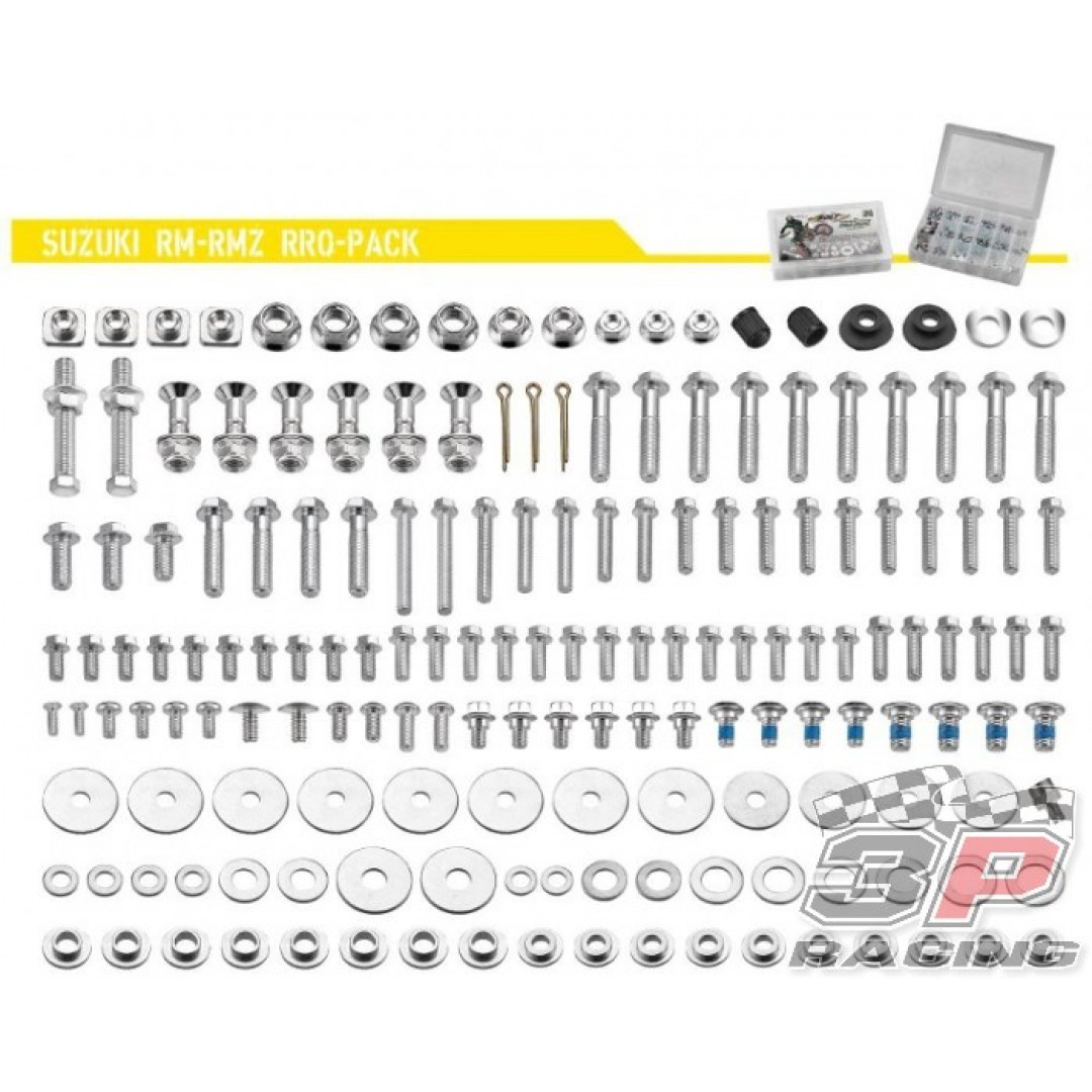 Accel Suzuki style PRO pack. Kit includes all bolts, nuts & spacers for Suzuki RM125 RM250 RMZ250 RM-Z250 RMZ450 RM-Z450 RMX450 RMX450Z motocross & enduro bikes. P/N: AC-BKP-06.