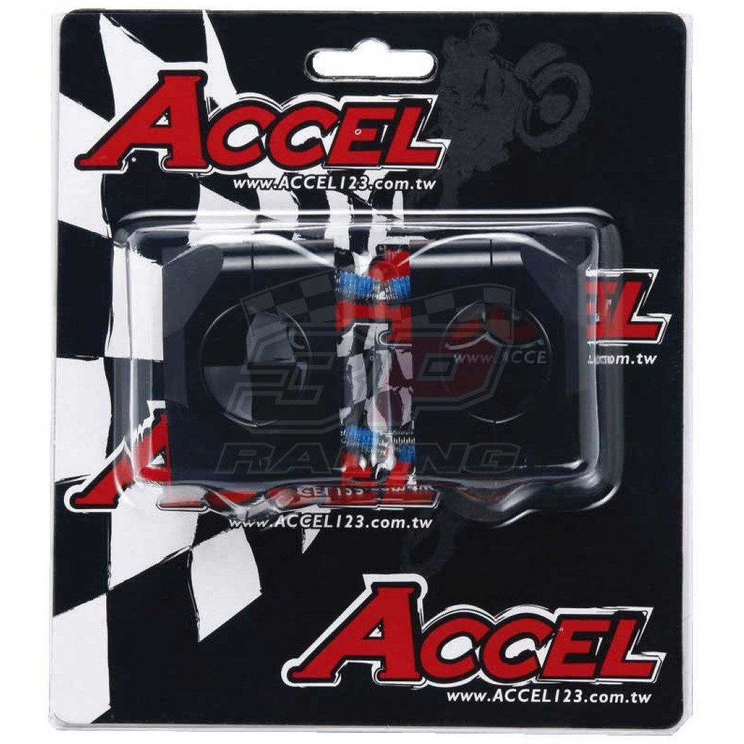 Accel CNC motorcycle handlebar risers - spacer & converter kit with 20mm height and conversion 22.2mm bar to 28.6mm fatbar. For all bikes - Universal. P/N: AC-BM-15-28.6BK. CNC machined. Bar bore: From 22.2mm to 28.6mm. Height: 20mm