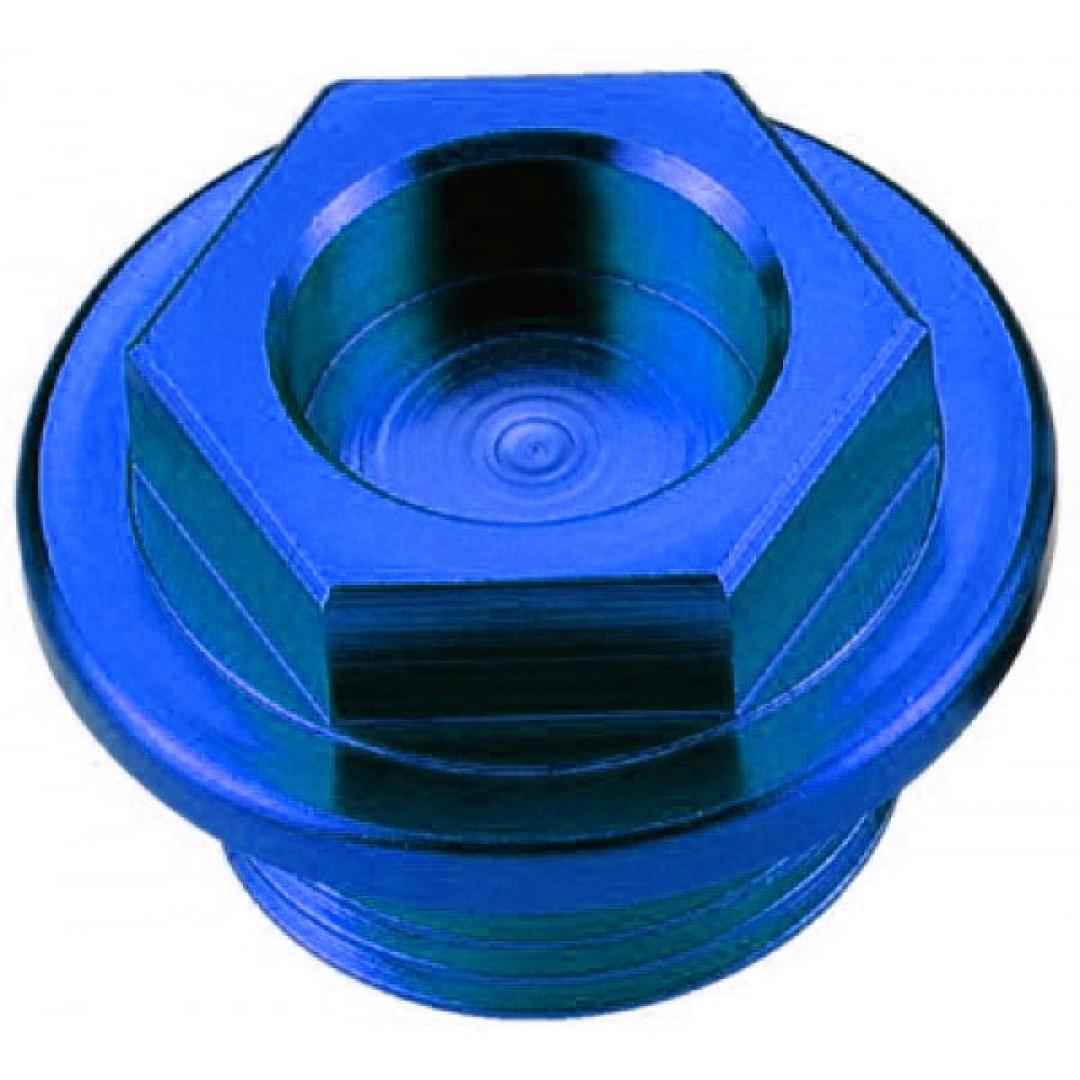 Accel oil fill plug for Honda CR 125/250/500, CRF 450R, Yamaha YZ 80/85/125/250, WRF 250/450, Blaster 200, YFZ 450, Raptor 350, Suzuki RM 60/65/100, Kawasaki KX 60/65/80/85/100/125/250/500, KDX 200/220, KLX 250/300  . P/N: AC-OFP-01-BL.-CNC machined.