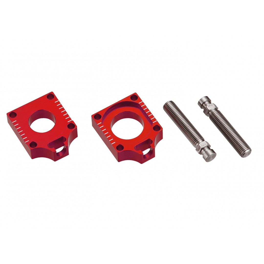 Accel CNC Dirt bike Red chain tensioners - adjusters for Husqvarna CR125 CR150 CR250 WR125 WR250 WR300 WR360 TC250 TC449 TC450 TC510 TC570 TE250 TE310 TE400 TE449 TE450 TE510 TE511 TE570 TE610 TE630 SMR400 SMR449 SM450 SMR450 SM510 SMR511 SMR570 SM630. ax