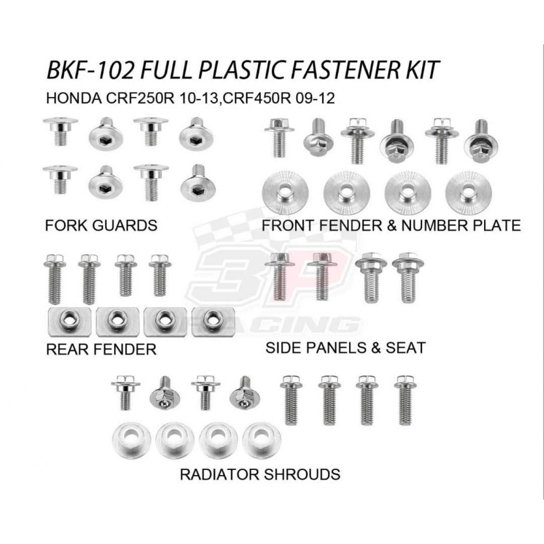Accel complete plastic parts fastener bolts kit for Honda CRF250 CRF250R 2010-2013, CRF450 CRF450R 2009-2012. Kit includes bolts, nuts & spacers for front fender & number plate, radiator shrouds, side panels & seat,fork guards,rear fender. P/N: AC-BKF-102