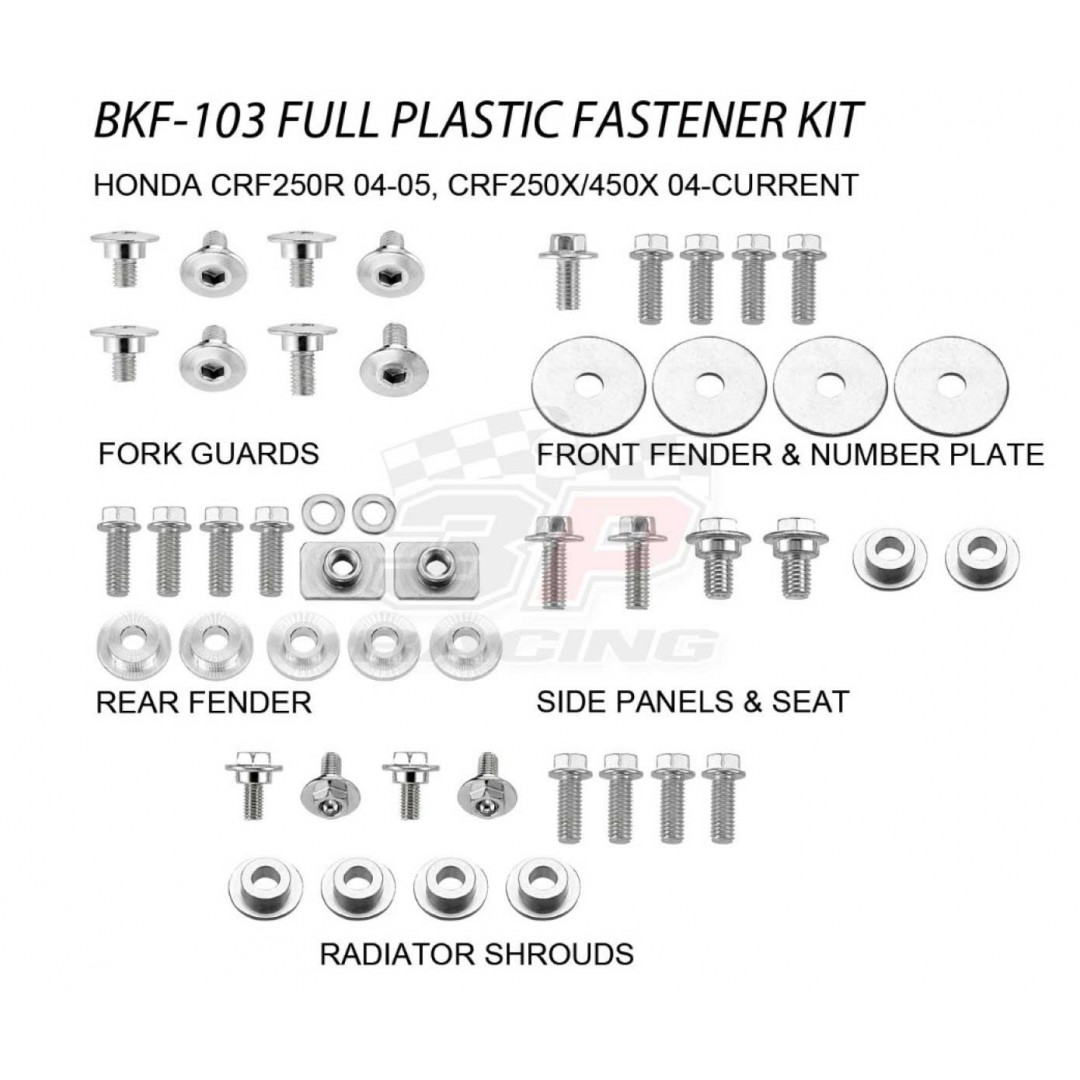 Accel complete plastic parts fastener bolts kit for Honda CRF250 CRF250R 2004-2005, CRF250X 2004-2017, CRF450 CRF450X 2005-2017. Bolts, nuts & spacers for front fender,number plate,radiator shrouds,side panels & seat,fork guards,rear fender. AC-BKF-103