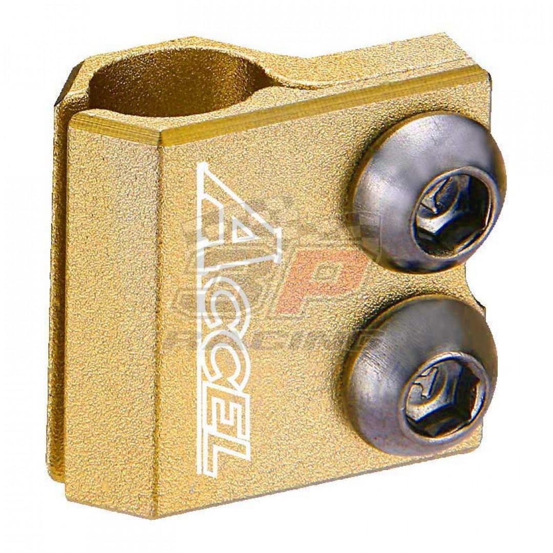 Accel brake line clamp - Gold AC-BLC-03-GOLD Kawasaki KX 85/100/125/250/500, KXF 250/450, KLX450R, Suzuki RM 80/85/125/250, RMZ 250/450, RMX 450Z, DRZ 400