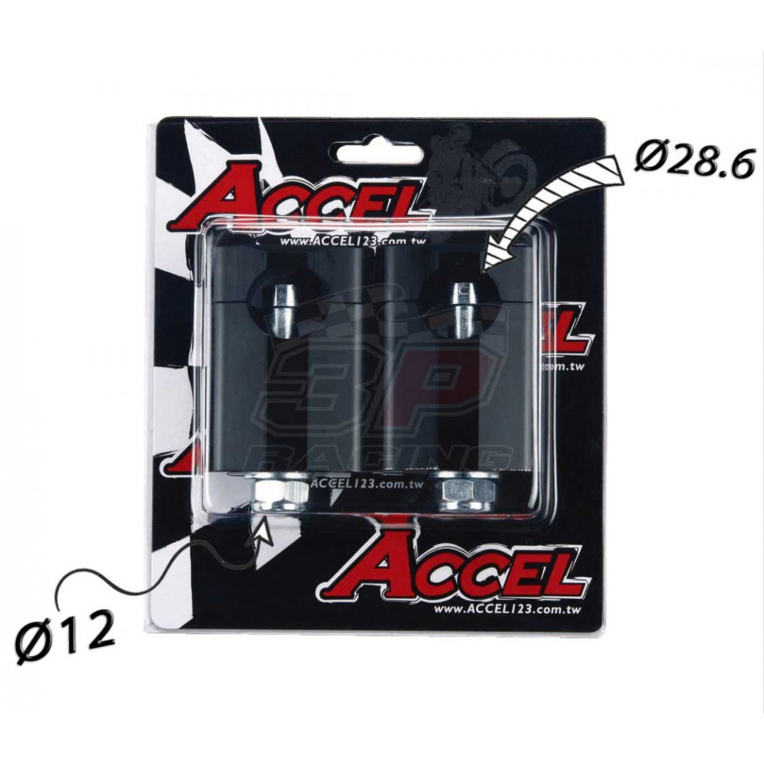 Accel Universal motorcycle handlebar CNC riser - spacer kit for 58.5mm raised height and 12mm bolt. For all bikes with 28.6mm fatbar - Universal. P/N: AC-BM-16-28-F12. CNC machined. 12mm bolt. Bar bore: 28.6mm. Raiser Height: 58.5mm