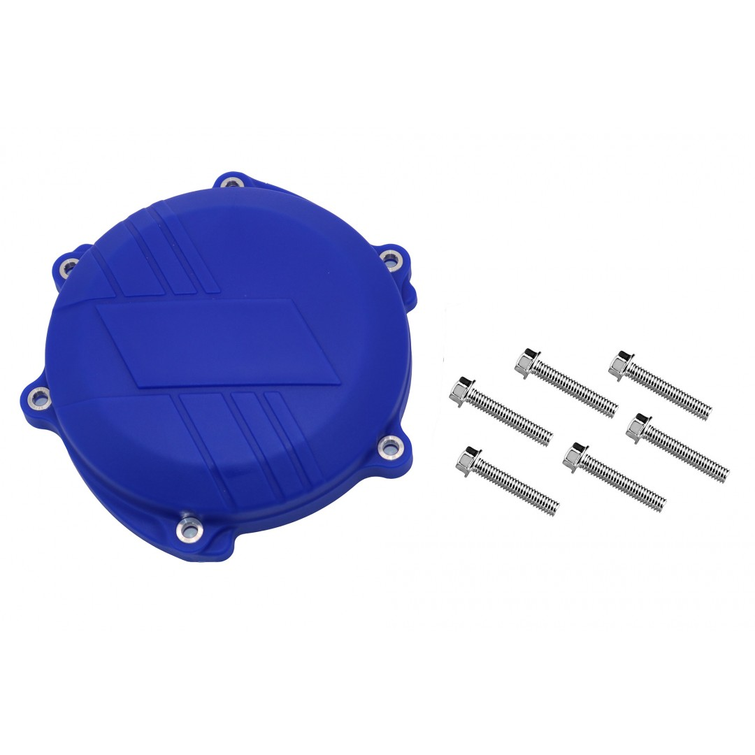 Clutch cover protector made of strong plastic, suitable for Yamaha YZF250 YZ250F YZ 250F 2019 2020 2021, WRF250 WR250F WR 250F, YZF250X YZ250FX YZ 250FX. Prevents damage to the cover by crashing or falling. Color:Blue.P/N: AC-CCP-204