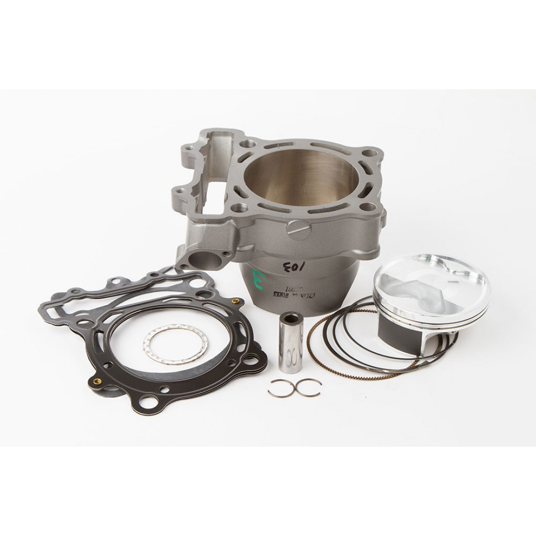 CylinderWorks 31001-K01 BigBore 269cc Nikasil cylinder kit with VerteX overbore piston and top end gasket set with 80.00mm diameter for Kawasaki KX250F KX 250F KXF250 2004 2005 2006 2007 2008, Suzuki RM-Z 250 RM-Z250 RMZ250. Kawasaki OEM cylinder 11005-00