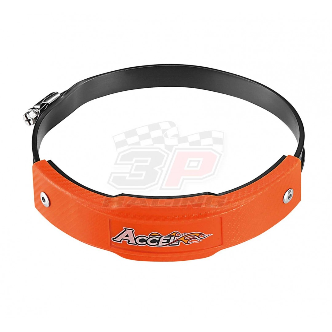 Hard & durable plastic ring cover protector that protects the exhaust pipe from damage when falling, crushing and more. Protection ring diameter 6'' . Large size - Fits 127-152mm pipes. Orange color . P/N: AC-EPG-01-OR