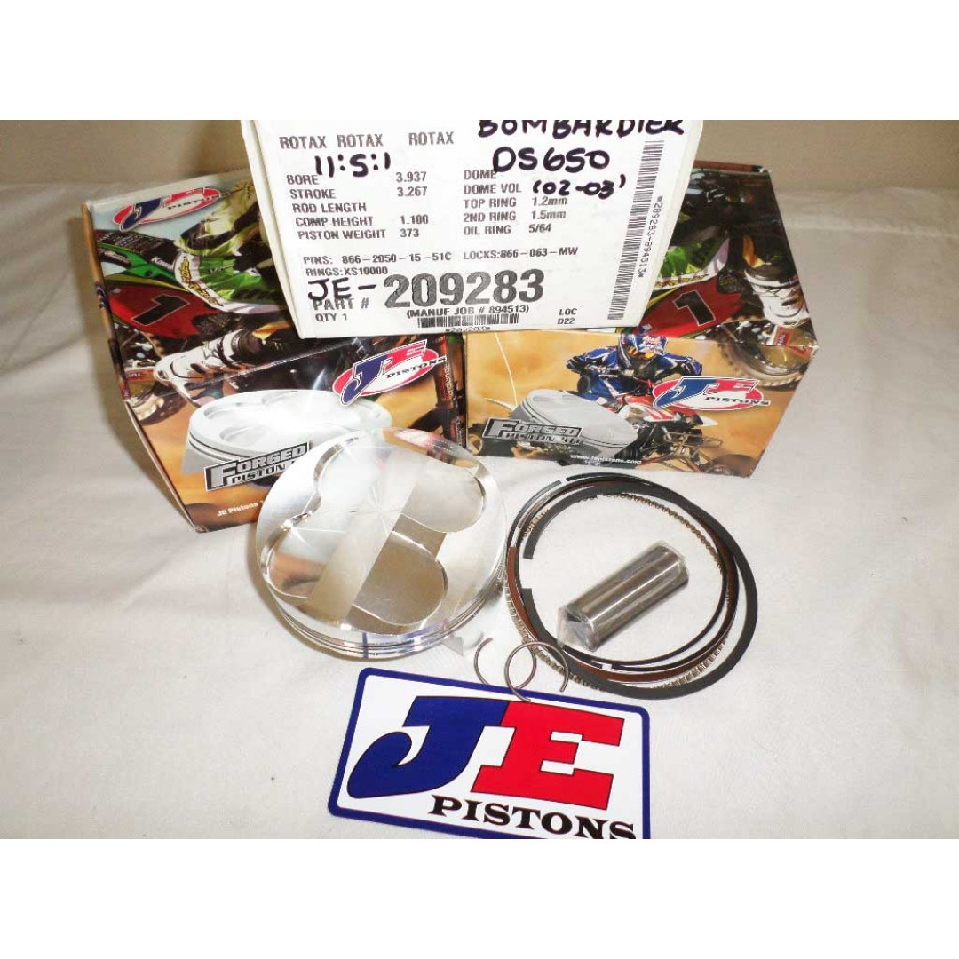 JEpistons 209283 forged standard bore piston 100mm with a High compression 11.5:1 for ATV Canam Bombardier Rotax DS650 DS650X 2000-2007. Diameter:100.00mm (Standard). High Compression Ratio:11.5:1. Piston rings, Piston pin and Circlips