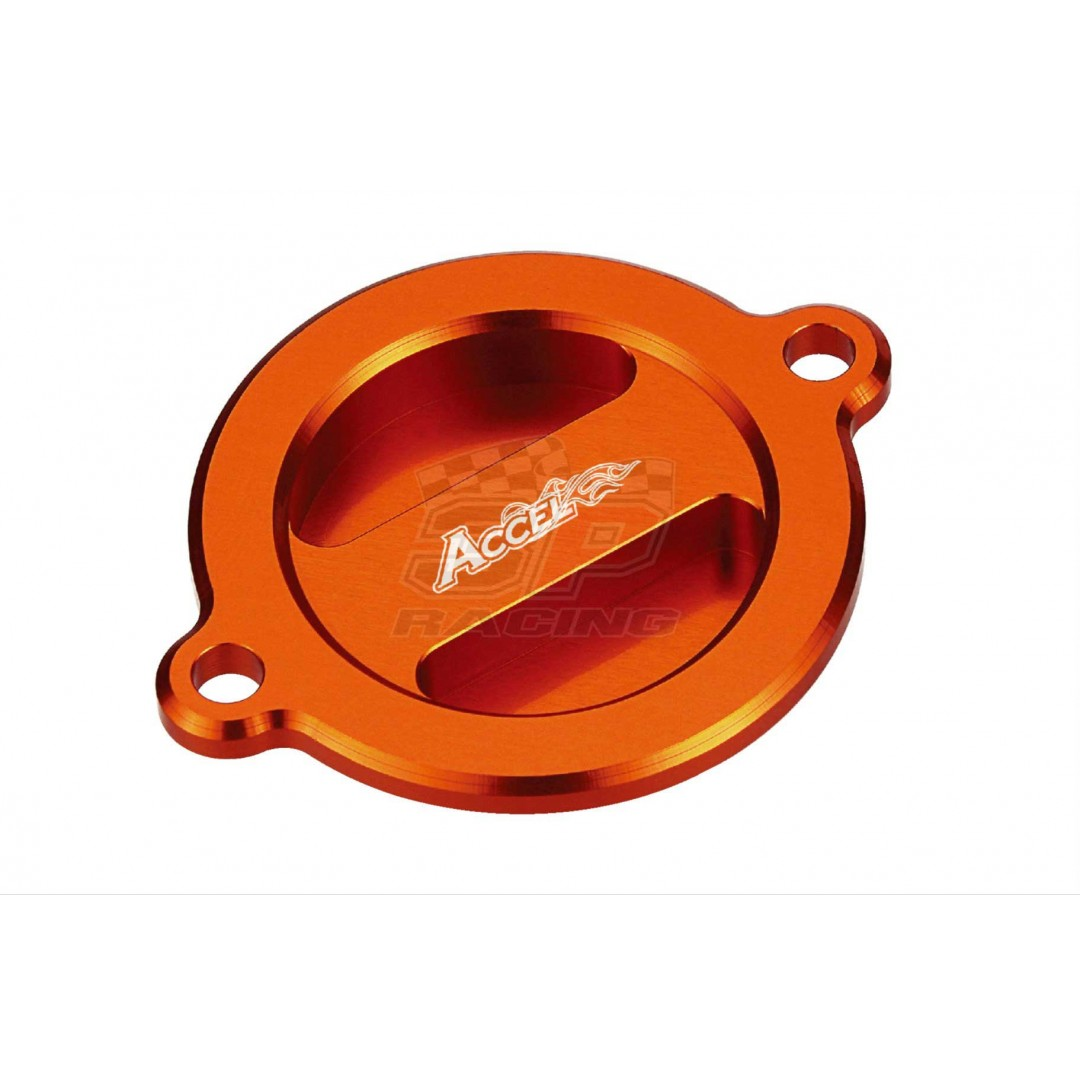 Accel CNC Orange oil filter cover KTM OEM 75038041200 for SXF450 SX-F450 EXC450 EXC500,LC4 690 Supermoto Duke SMC Enduro 790, Adventure 990 1050 1090 1190, RC8, Superduke 1290R, ATV SX450 SX505, Husaberg Husqvarna FE FC FS 390 450 501 570 AC-OFC-03-OR KTM