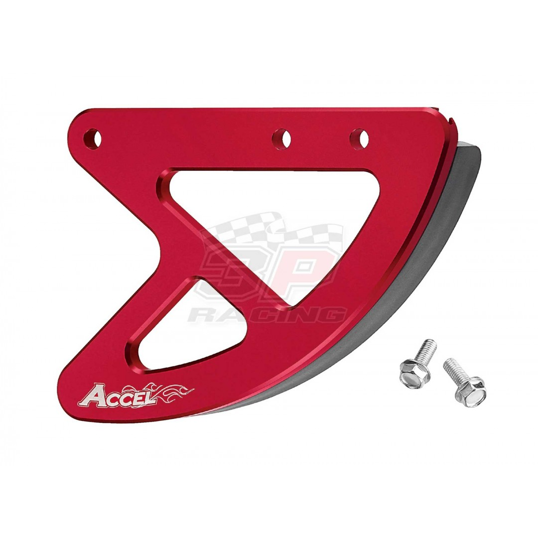 Accel CNC Red rear brake disk protector of 2002-2019 Honda OEM 43330-KZ4-J40ZA, 43330-KRN-A70ZB, 43330-KRN-A30ZA, 43330-KRN-A70ZA, AC-RBDG-101-RD Honda CR 125, CR 250, CRF 250R, CRF 250X, CRF 250RX, CRF 450R, CRF 450X, CRF 450RX, CRF 450Lfits CR125 CR125R