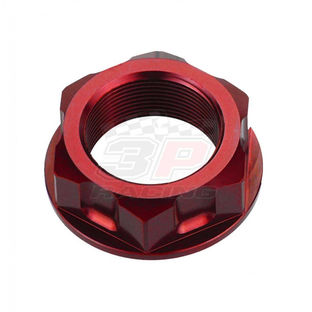 Accel steering stem nut AC-SNB-03-RD for Honda XR50 XR70 XR75 XR80 XR100 CRF50F CRF70 XL75 XL80 XL100 Z50R CB125 CB250 MT125 CM185T CM200T CM250 CMX250 NSR50, ATV ATC70 ATC90 ATC110 ATC125 ATC185 ATC200. Honda OEM 90304-159-000, 95020-15100. Fits Kawasaki