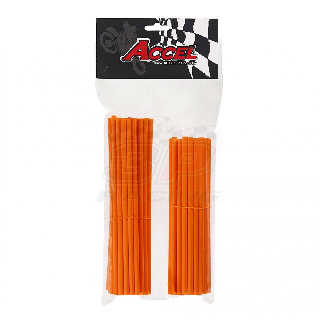 "Give your bike a refreshing stylish look with this coloured Orange wheel spoke skin set ! Includes 38pieces of 8.5"" length skins and 38pieces of 7.5"" length skins. For 18""-21"" rims. Wheel spoke colored wraps, covers,sleeves,guards.P/N: AC-SS-101-OR"