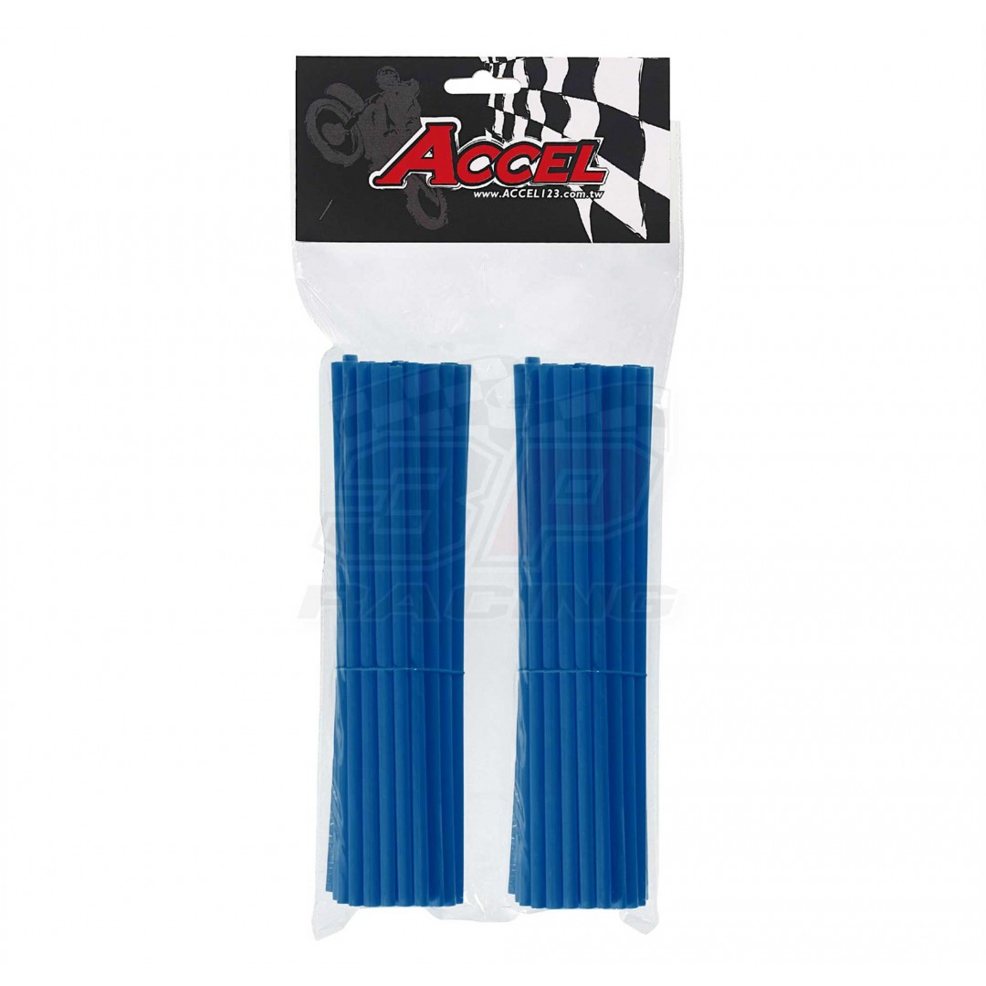 "Give your bike a refreshing stylish look with this coloured Blue wheel spoke skin set ! Includes 76pieces of 8.5"" length skins. For 18""-21"" rims. Wheel spoke colored wraps, covers, sleeves, guards.P/N: AC-SS-102-BL"