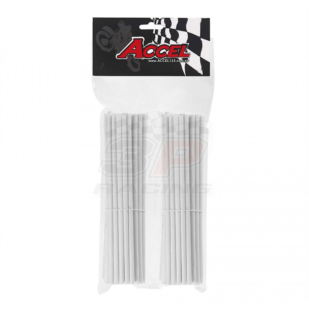 "Give your bike a refreshing stylish look with this coloured White wheel spoke skin set ! Includes 76pieces of 8.5"" length skins. For 18""-21"" rims. Wheel spoke colored wraps, covers, sleeves, guards.P/N: AC-SS-102-WH"