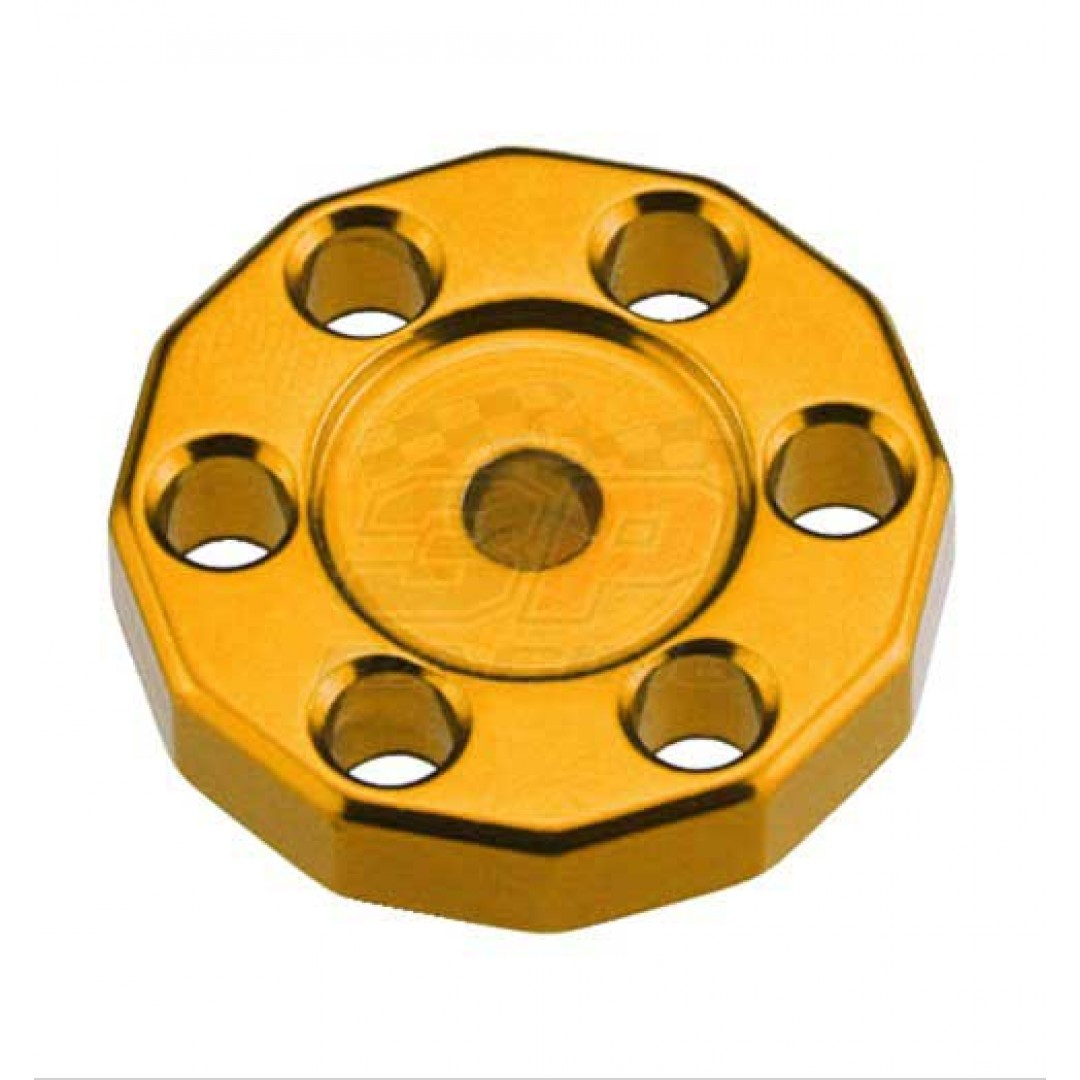 Universal high quality tank fixed spacer for Off-road bikes - Gold. CNC machined. Made from AL6061-T6 aluminum alloy. Color anodized. P/N: AC-TFS-01-GD