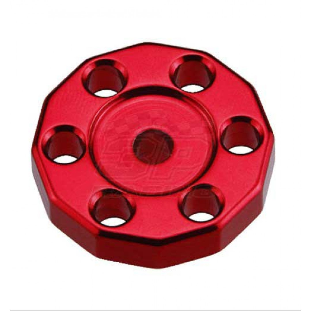 Universal high quality tank fixed spacer for Off-road bikes - Red. CNC machined. Made from AL6061-T6 aluminum alloy. Color anodized. P/N: AC-TFS-01-RD