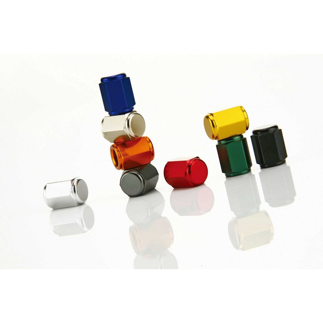 Accel universal tire valve stem caps for motorcycles. Fits Off-road, Street bikes. Color options available: Blue, Gold, Green, Orange, Red. -CNC machined. -Made from AL6061-T6 alloy. -Color anodized. P/N: AC-VC-01